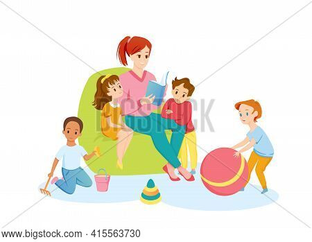 Teacher And Preschool Children Read Book Together, Young Happy Woman Reading Storybook