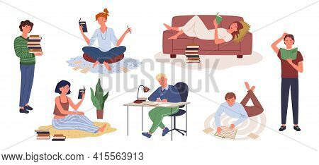 Cartoon Young Woman Holding Book And Studying, Man Character Sitting At Table Doing Homework, Happy