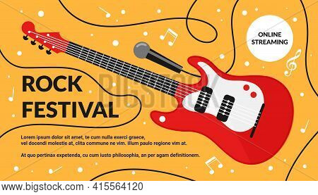 Cartoon Rock Musical Festival Instrument On Background, Artistic Live Concert, Listening To Music Cr