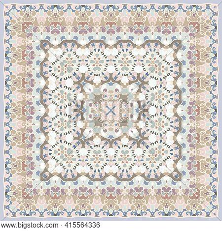 Ancient Arabic Square Pattern. Colored Persian Ornament For Fabric Design, Interior Decoration, Text