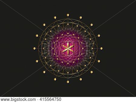 Flower Of Life Gold Symbol Sacred Geometry.  Geometric Mystic Mandala Of Alchemy Esoteric Seed Of Li