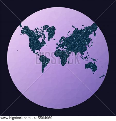 Abstract Telecommunication World Map. Lagrange Conformal Projection. World Network Map. Wired Globe