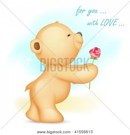 illustration of teddy bear holding rose in proposing pose