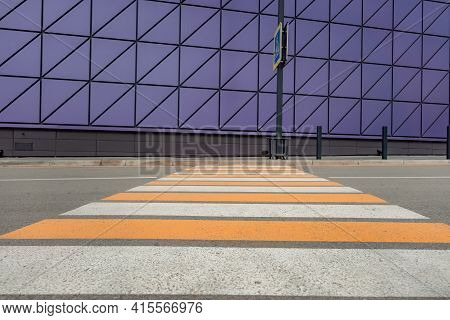 Pedestrian Crosswalk On A Renovated Paved Road, To The Beginning Of The Shopping Complex. Pedestrian