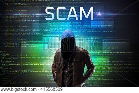 Faceless hacker on code background