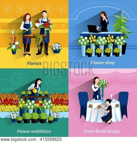 Flowers Exhibition And Special Events Floral Design Arrangements 4 Flat Icons Square Composition Abs
