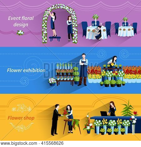 Flower Arrangements For Special Events And Retail Shop Service 3 Flat Banners Set Abstract Vector Is