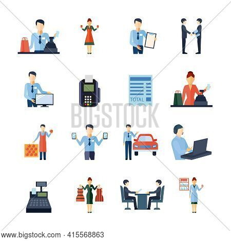Salesman Shopman Realtor And Other Sellers Figures Icons Set Flat Isolated Vector Illustration