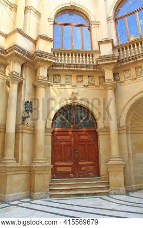 Ornate Exterior Door Of The Venetian Loggia, Housing City Hall On The Square Of Saint Titus In Herak