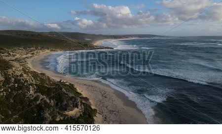 Idyllic Empty Beach And Crashing Waves Against Shore. Margaret River, Australia.