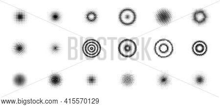 Set Of Halftone Circles. Halftone Dots Circle Gradient. Halftone Design Elements. Vector Illustratio
