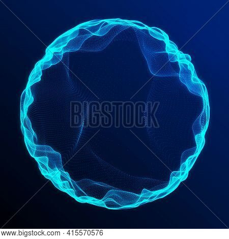 Space-time Portal. Abstract Blue Grid Wormhole. Futuristic 3D Portal. Cosmic Wormhole. Funnel-shaped