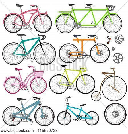 Vector Set Of Bicycles In Flat Style. Guide Of Bike Types. Poster With Racing Various Types Of Bikes