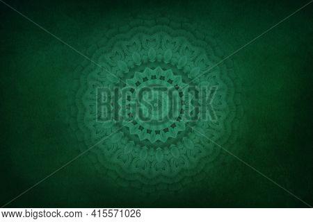 Green Vintage Greeting Card With Mandala. Great For Invitation, Flyer, Menu, Brochure, Postcard, Wal