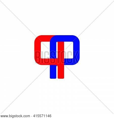 Letter Pp Simple Linked Geometric Colorful Logo Vector