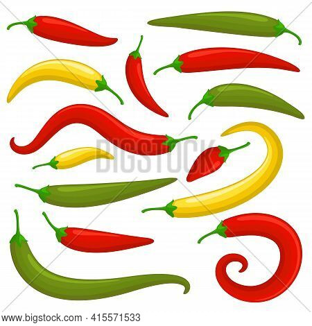 Closeup Red, Green And Yellow Chilly Pepper Vector Set. Hot Red Chili Peppers, Mexican Chilli Isolat
