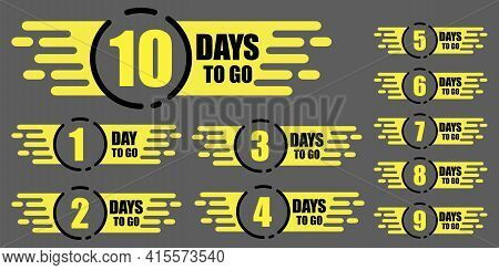 10 Days To Go. Promotion, Special Discount. Discount Sale. Stock Image. Vector Illustration. Eps 10.