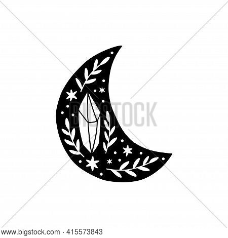 Magical Moon Vector Illustration. Black Crescent Moon And Crystal. Celestial T Shirt Print, Boho Pos