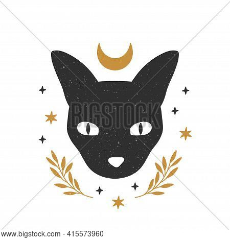 Mystical Moon Cat Face. Black Celestial Animal Vector Illustration. Trendy Esoteric Concept With Cre