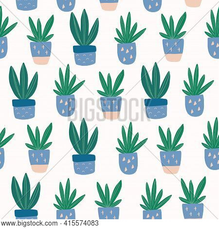 Seamless Pattern With Hand-drawn Cute Succulent In Pot. Trendy Colors House Plant Vector Illustratio