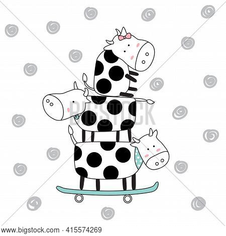 The Cute Baby Cow With Skateboard. Hand Drawn Cartoon Style