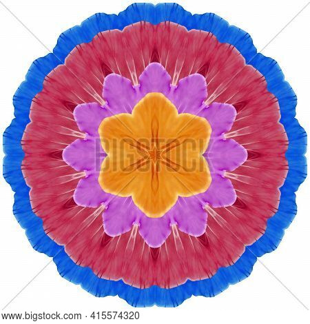 Mandala From Dried Pressed Flowers, Petals. Primula, Primrose. Mandala Is Symbol Of Buddhism, Hindui