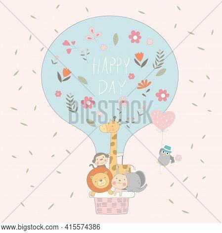 The Cute Animal Cartoon With Balloon Air On Sky. Cartoon Sketch Animal Style