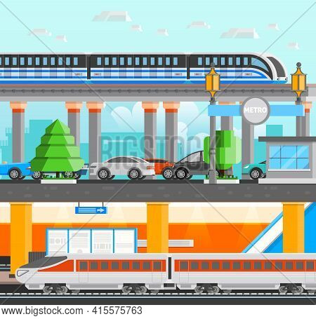 Subway Underground Design Concept Set With Modern High Speed Monorail And Metro Trains And Cars Flat