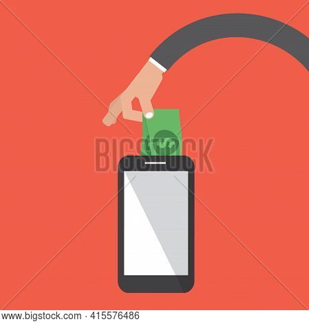 Mobile Banking Money Stealing Security Concept Vector Illustration. Eps 10