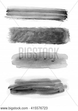 Set Of Black  Watercolour Textured Isolated On White Background, Watercolour Painting Soft Textured