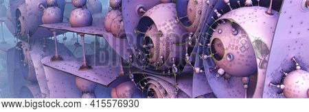 Abstract background with metallic architectural shapes, science fiction 3D render illustration with ancient alien constructions, installations.