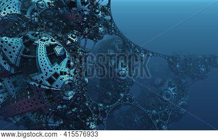Abstract background, fantastic 3D blue metal structures, ancient civilization fictional background.