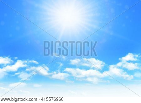 Sunny day background, blue sky with white cumulus clouds and glaring sun, natural summer or spring background with perfect hot day weather, vector illustration.