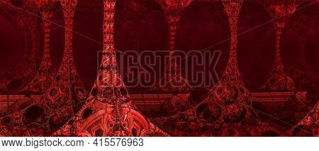 Abstract background, fantastic 3D alien structures, red dark and bloody fictional background.