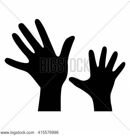 Palm Of Mother And Child. Silhouette Of A Hand On A White Background