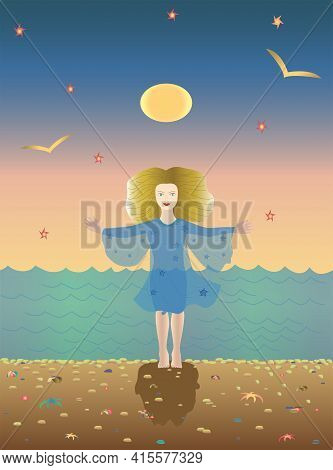Girl Standing Barefoot On The Ocean Shore With Open Hands