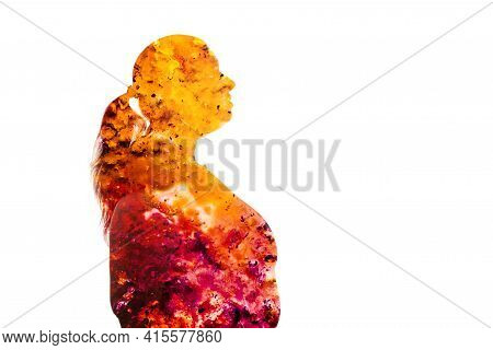 Fat Burning. Double Exposure Silhouette. Weight Loss. Obesity Problem. Orange Pink Ink Fluid Texture