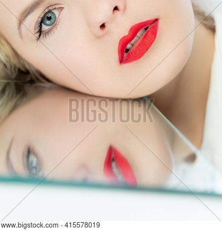 Beauty Portrait. Plastic Surgery. Anti-aging Procedure. Facial Rejuvenation. Blonde Woman With Red L
