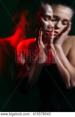 Female Crisis. Mental Disorder. Loneliness Pressure. Double Exposure Blur Silhouette Night Portrait
