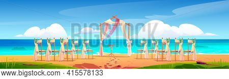 Beach Wedding Arch And Decoration On Seaside. Wooden Archway And Chairs With Flowers Stand On Ocean