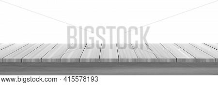 Wooden Table Top, Desk Or Shelf Isolated On White Background. Vector Realistic Mockup Of Empty Kitch
