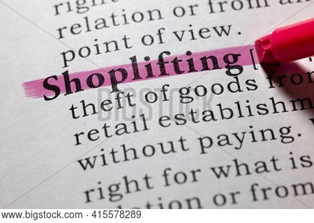 Fake Dictionary Word, Dictionary Definition Of Shoplifting