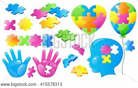 Set Autism World Day Awareness, Colorful Puzzle Pieces, Child Head And Open Palm With Hole, Heart Fi