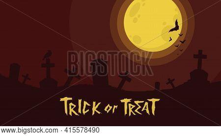 Halloween Background With Zombie In Graveyard Vector