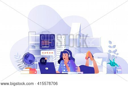 Student At Distant Learning Scene. Woman Watching Video Lecture, Studies On Laptop Lying On Floor At
