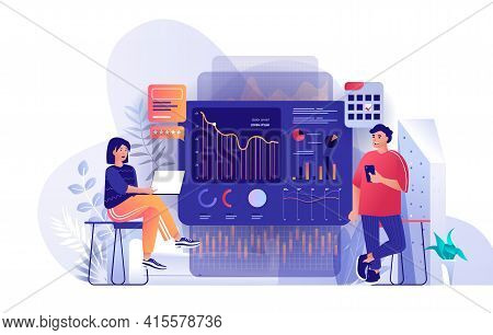 Big Data Analysis Scene. Man And Woman Analyzing Charts, Diagram And Graphs At Dashboard. Business S