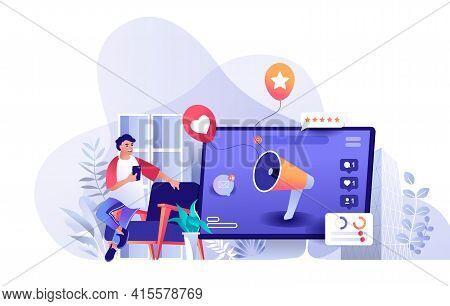 Social Media Marketing Scene. Marketer Promotes New Business At Social Media, Huge Megaphone Attract