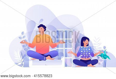 Couple Doing Yoga At Home Scene. Man And Woman Sitting In Lotus Position. Healthy Lifestyle, Meditat