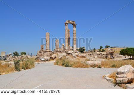 The Temple of Hercules at the Citadel of Amman, Jordan