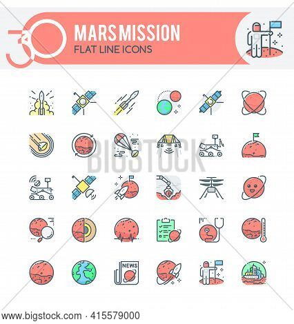 Set Of Filled Outline Icons On Following Topics Mars Mission, Perseverance Mission, Exploration Of M